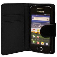 BLACK WALLET Plain caso withcard SLOT PER SAMSUNG GALAXY ACE GT-S5830 / GT-S5830I