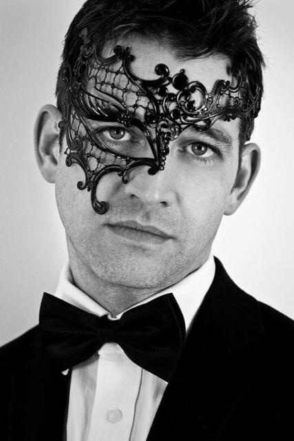 Men Phantom Laser Cut Venetian Masquerade Black Metal Filigree Party Ball Mask