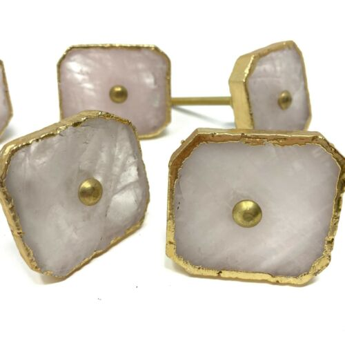 Unique Agate Stone Door Knob in Pale Pink with Gold Edging and Brass Hardware