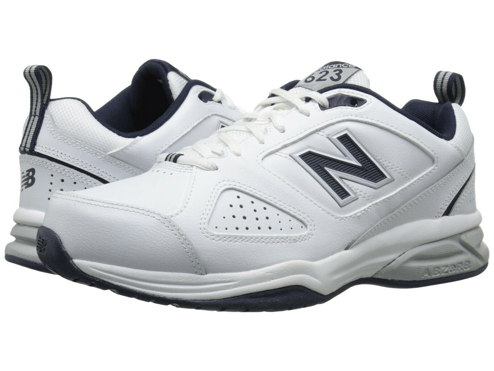 Men New Balance MX623WN3 Walking shoes Extra Wide 4E White Navy Leather Original