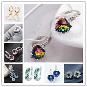 New-Fashion-Jewelry-Silver-Filled-Gems-Sapphire-Stud-Dangle-Drop-Hoop-Earrings