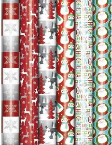Bundle-of-6-Rolls-of-Christmas-Holiday-Foil-Gift-Wrapping-Paper-Traditional