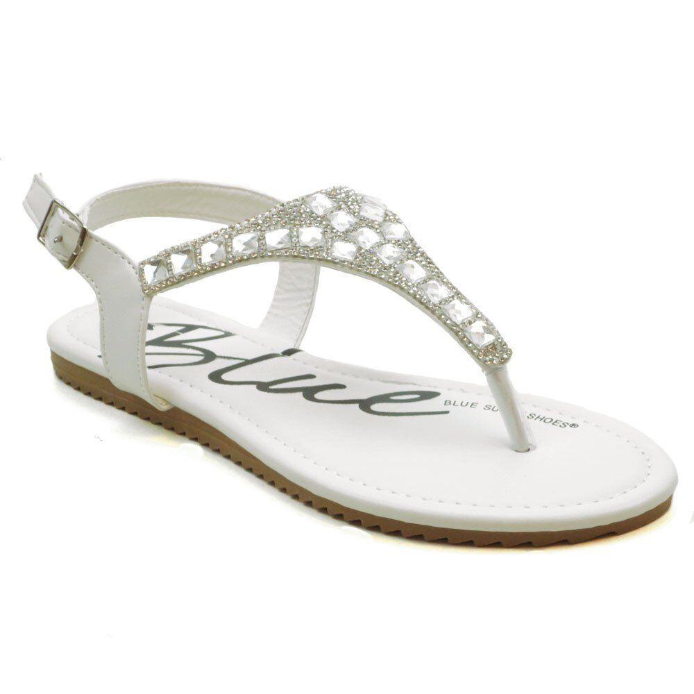 Womens Gladiator Rhinestone Sandals Beaded Jeweled Gladiator Womens T Strap Black Silver White 6d893b