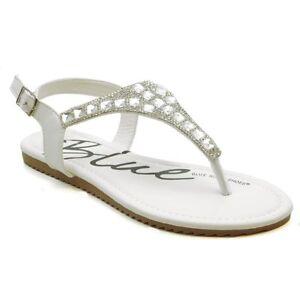 03c6874c0 Image is loading Womens-Rhinestone-Sandals-Beaded-Jeweled-Gladiator-T-Strap-