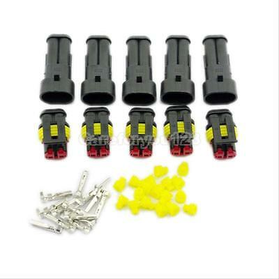5 Kits 2 Pin Way Car Truck Waterproof Electrical Wire Connector Plug Terminal
