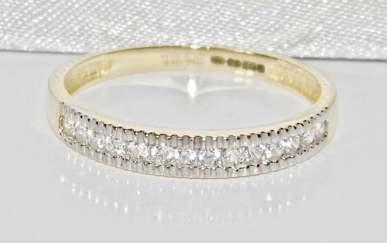 9ct gold 0.15ct Ladies Eternity Ring - size M 1 2 - UK Hallmarked