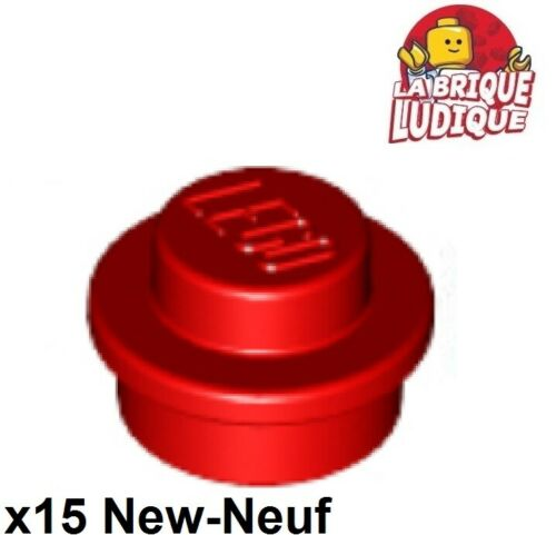 15x Plate Round plaque ronde 1x1 Straight Side rouge//red 4073 NEUF Lego