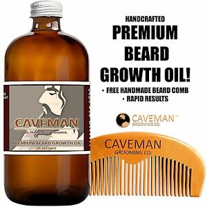 Handcrafted-Caveman-BEARD-GROWTH-OIL-BEARD-COMB-RAPID-RESULTS-Bay-Rum