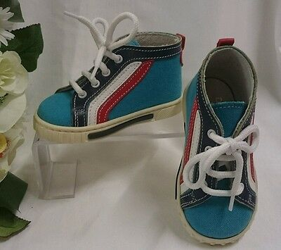 BABY High Sneakers Kinder Schuhe Herbst MADE IN ITALY Gr 19 Blau Rot Weiß