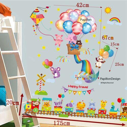 Animal roller coaster//rainbow//koala//panda//ballon nursery//baby wall sticker