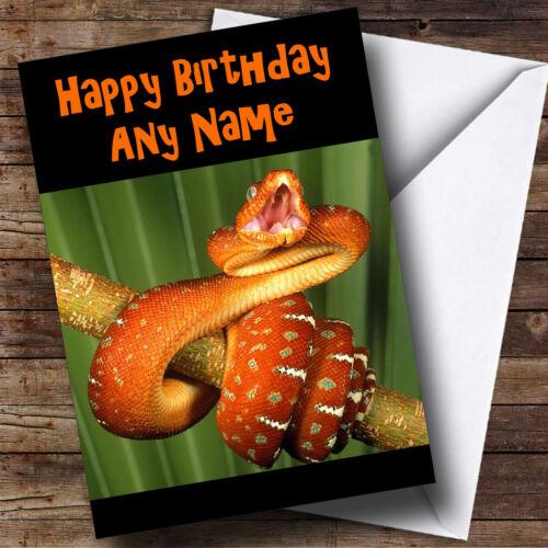 Orange Snake Personalised Birthday Greetings Card