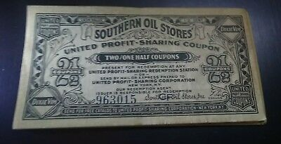 2 1930s Southern Oil Stores United Profit Sharing Coupon Dixie Vim Numbered