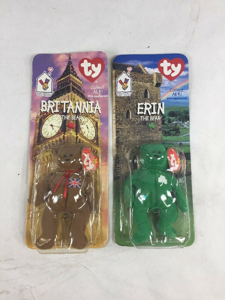 TY BEANIE BABIES 4 MCDONALD 99 VINTAGE ERIN BRITANNIA TAG 93 MISPRINT COLLECTION