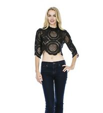 Circle Lace Me Up Darling Crop Top NWT Elbow Length Sleeve Black White S M or L