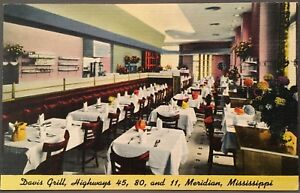 Meridian-MS-Davis-Grill-On-Highways-45-80-amp-81-Deco-Style-Linen-Postcard