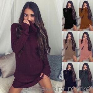 New-Women-Cowl-Neck-Loose-Long-Sleeve-Oversize-Sweater-Jumper-Shirt-Tops-Dress