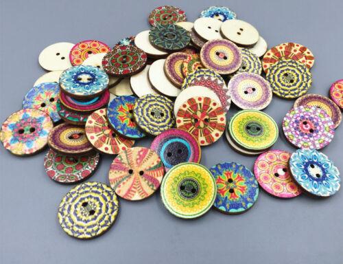 50pcs wooden buttons sewing scrapbook decorative pattern  Mixed pattern 25mm