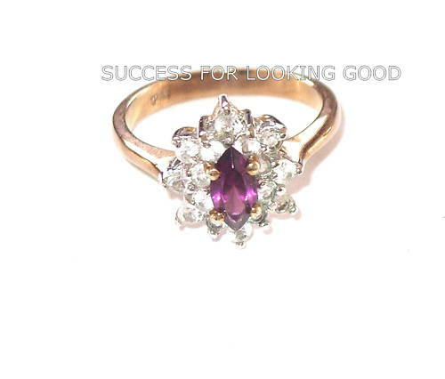 New AMETHYST and CUBIC Zirconium  Fashion Jewelry Ring