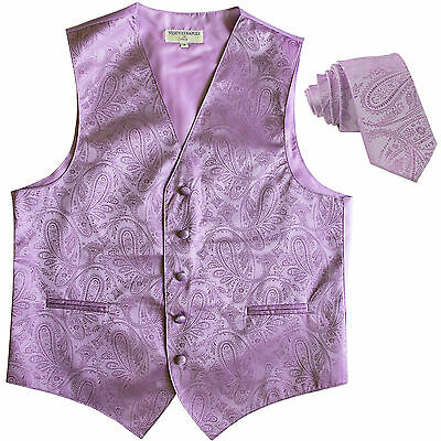 """New Men's formal tuxedo vest Waistcoat_2.5"""" skinny necktie paisley Lavender prom"""