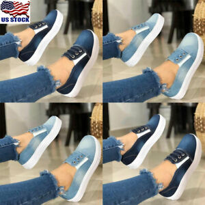 Womens-Slip-On-Denim-Flats-Trainers-Ladies-Casual-Casual-Sneakers-Comfy-Shoes-US