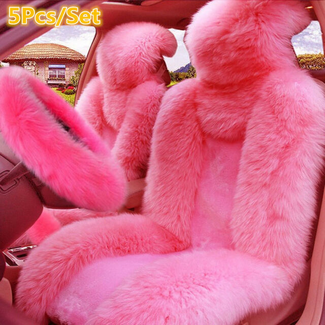 Fabulous 5Pcs Pink Wool Fur Car Front Seat Covers Steering Wheel Cover Winter Essential Alphanode Cool Chair Designs And Ideas Alphanodeonline