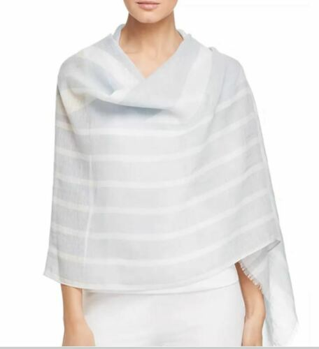 Eileen Fisher Organic Linen Cottn Printed Fringe-Trim Scarf Wrap India Sky INDIA