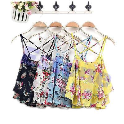 Summer Women Chiffon Shirt Spaghetti Strap Floral Print Vest Blouses Crop Top