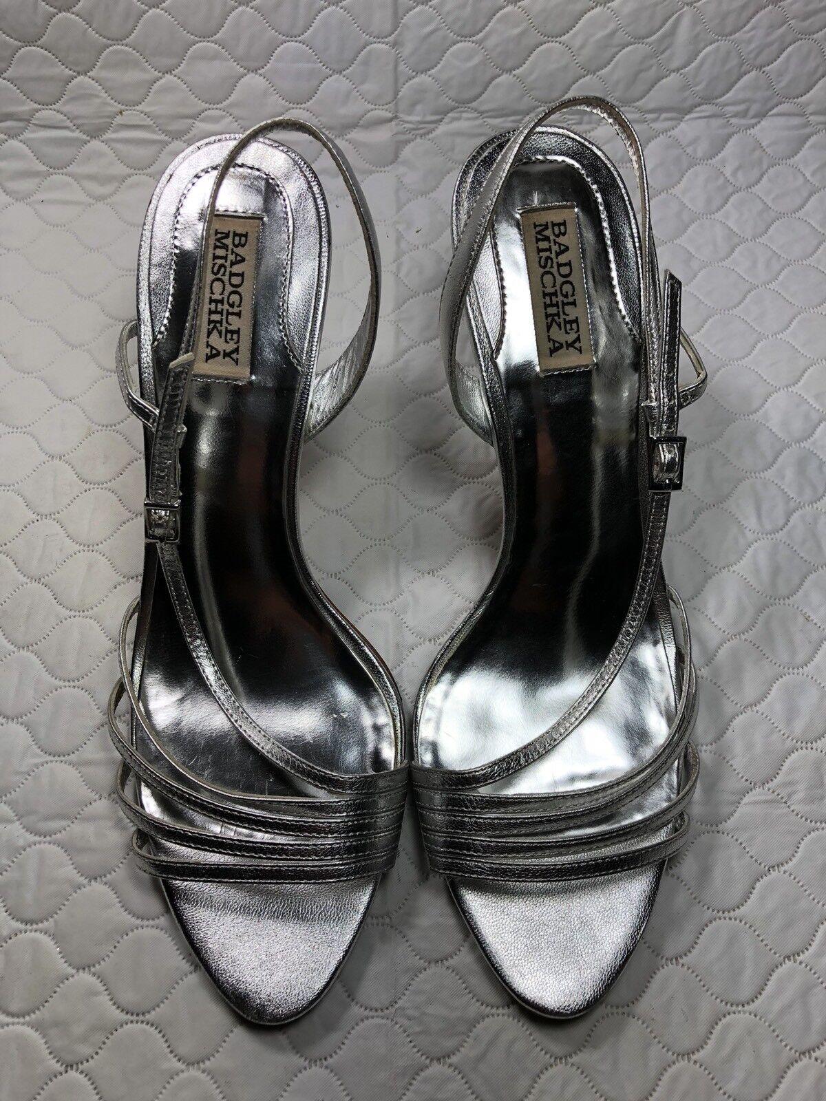 Badgley Mischka Femme en Cuir argenté Lanière Escarpins Talons Hauts chaussures Taille - 10 m