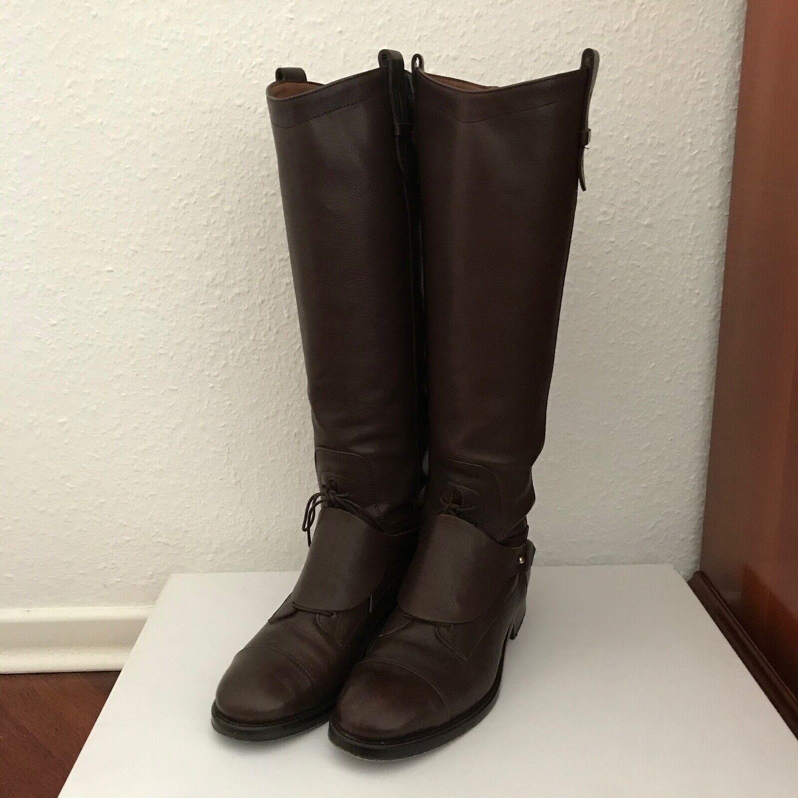 MASSIMO DUTTI Leder Stiefel mit versteckter Schnürung   Braun   Gr. 38
