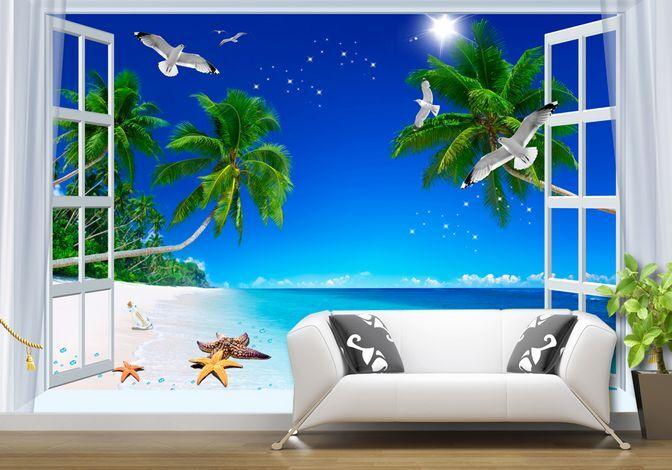 3D Mare, spiaggia Parete Murale Carta da parati immagine sfondo muro stampa
