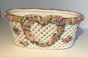 Vintage LBK Ceramic Planter Flowers Heart 3.5 X 8 Inches