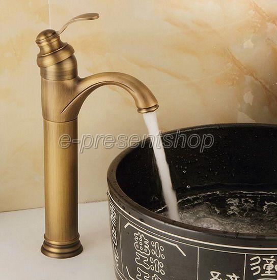 Grifo de Baño Cuenca De Latón Antiguo sola manija de mezclador lavabo tocador Tap Bnf020