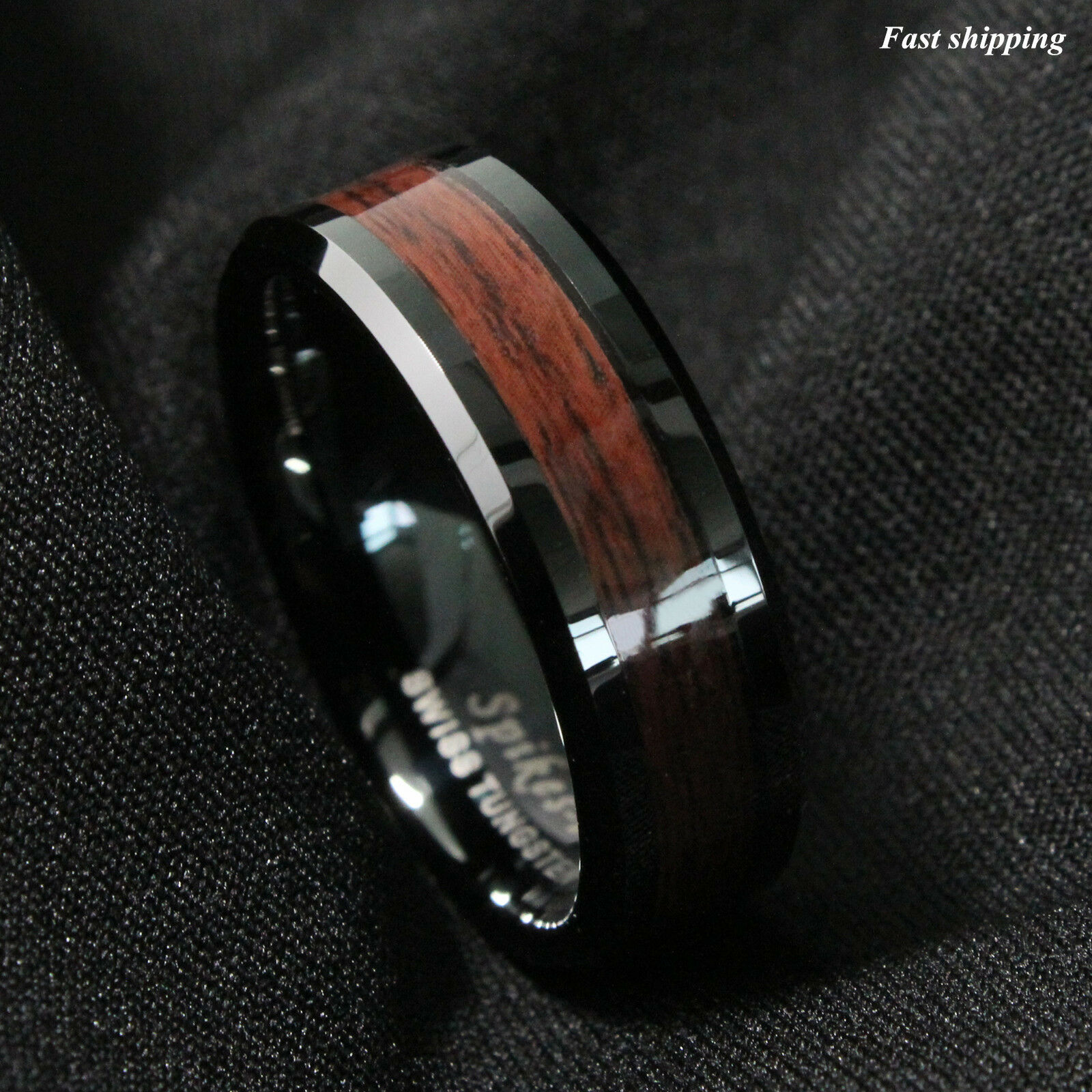 8mm Black Men S Tungsten Carbide Ring Red Wood Inlay Wedding Band