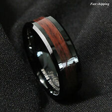 8mm Black Men's Tungsten Carbide ring Red Wood Inlay Wedding Band mens jewelry