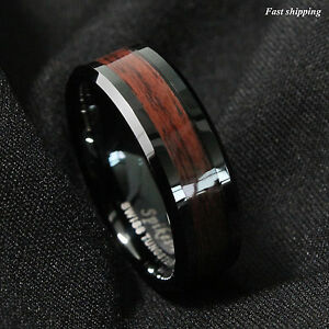 8mm Black Men s Tungsten Carbide ring Red Wood Inlay Wedding Band ... 201471ac431e