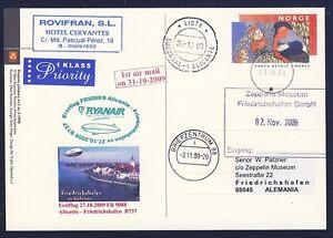 44517) Irlande Ryanair Ff Alicante-frdhfn 31.10.09 Zeppelin Nt à Partir De La Norvège Ga-afficher Le Titre D'origine