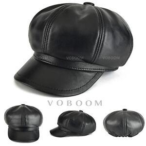 100-Sheepskin-Leather-Newsboy-Cap-Women-039-s-Black-Newsboy-Gatsby-Cap-Cabbie-Hat