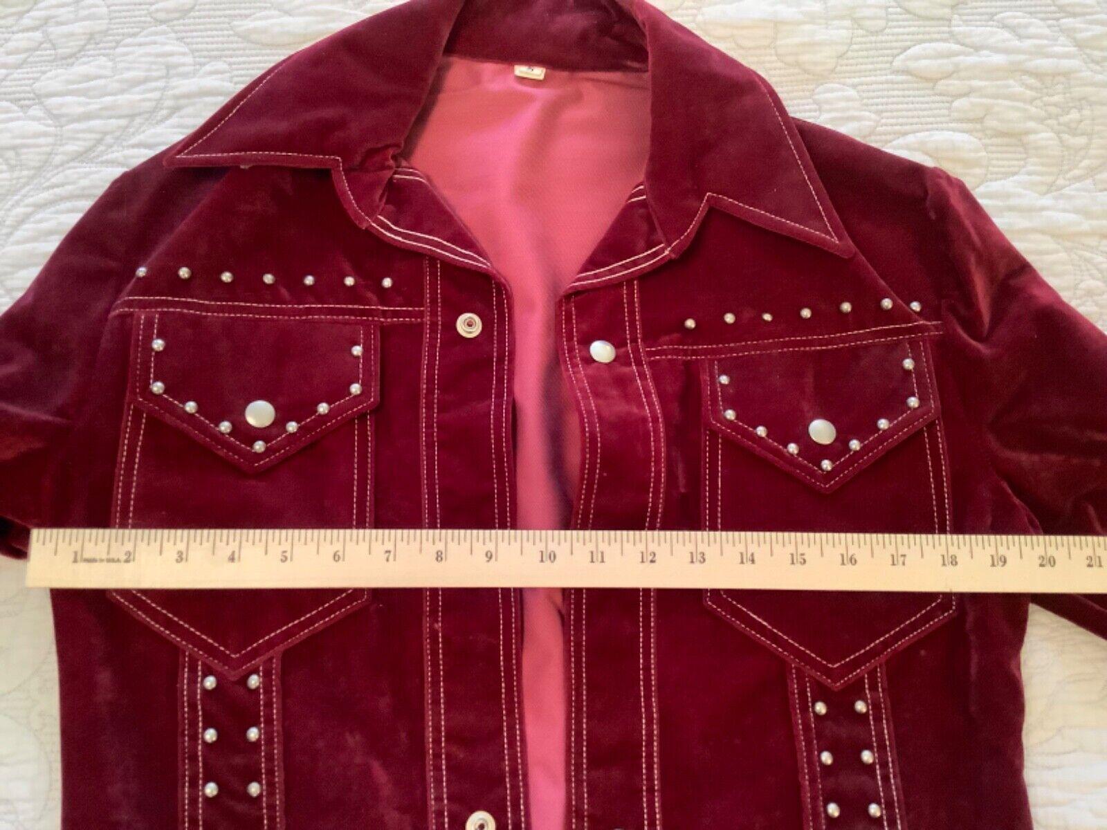 VINTAGE Women's Burgundy Red Velvet Blazer Jacket… - image 9