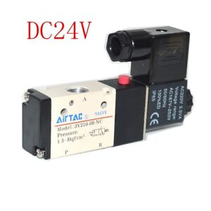 "Pneumatic Solenoid Valve AIRTAC Type 3V210-08 3 Way 2 Position 1/4"" DC24V 1PC"