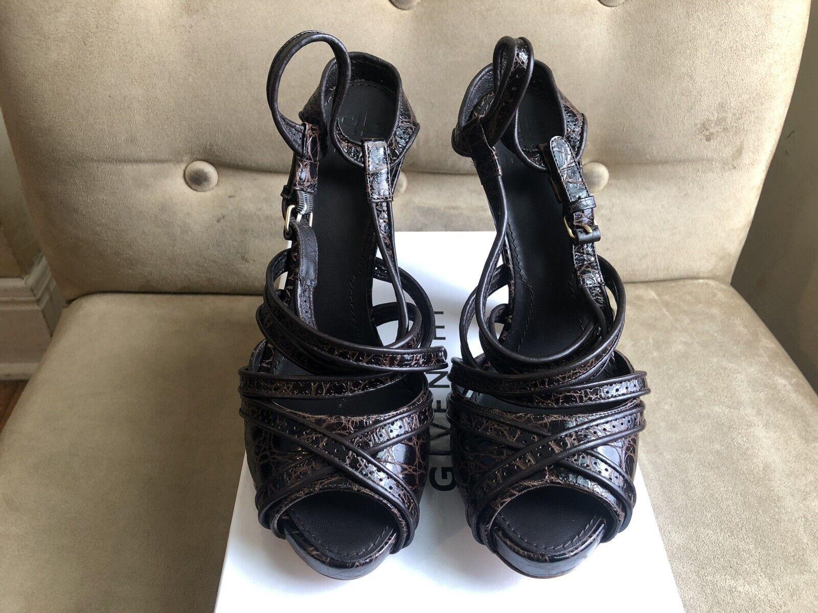 GIVENCHY Marron biCouleures biCouleures biCouleures gravé Cuir Courroie grossièrement TRICOTE paragraphe Chaussures 10 40 3be796