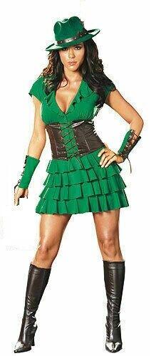 SPECIALE affare Donna Costume Verde Robin Hood Costume Taglia 8 10 12 14