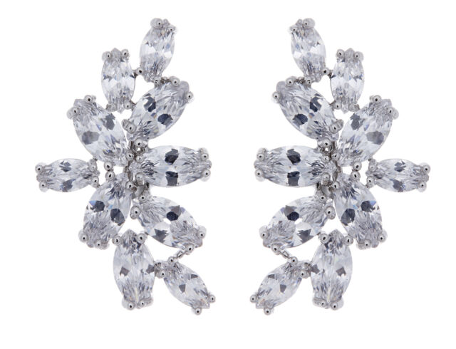 CLIP ON EARRINGS silver plated luxury earring with cubic zirconia stones - Marla