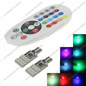 1 Pair T10 Rgb 16 Colors Changing Led Lamp Car Wedge Dome Light