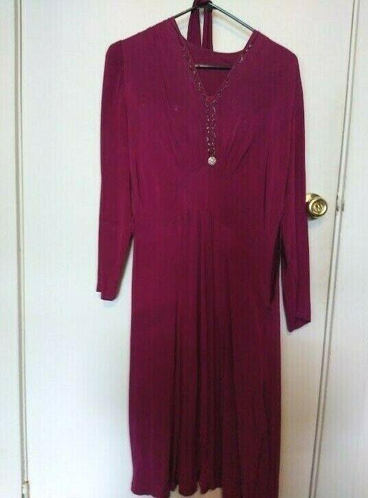 1940s magenta rayon dress w/ self-belt - image 1