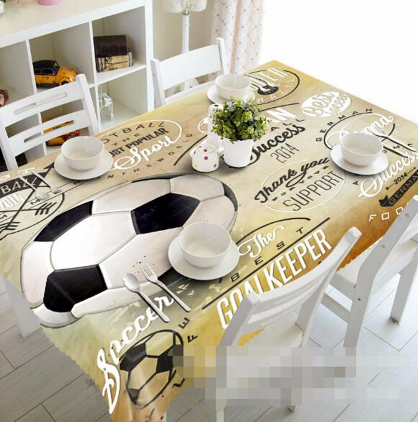 3D FOOTBALL 62 Nappe Table Cover Cloth fête d'anniversaire AJ papier peint Royaume-Uni Citron