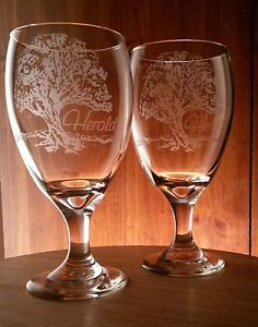 Oak-Tree-Goblet-Set-Personalized-w-Family-Name-Gift-Anniversary-Wedding-Glasses