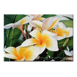 Hand Painted MODERN Home Decor Wall Art White Egg Flowers OIL PAINTING on Canvas