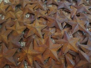 """200 pc Lot Rusty Stars 100 ea 1.5/"""" /& 2.25/"""" Primtive Country Metal Barn Rusted"""