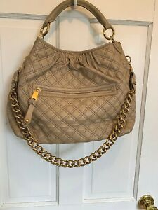 f332ae754b Marc Jacobs Stam TAUPE TAN BEIGE BLUSH Quilted Leather Shoulder Bag ...