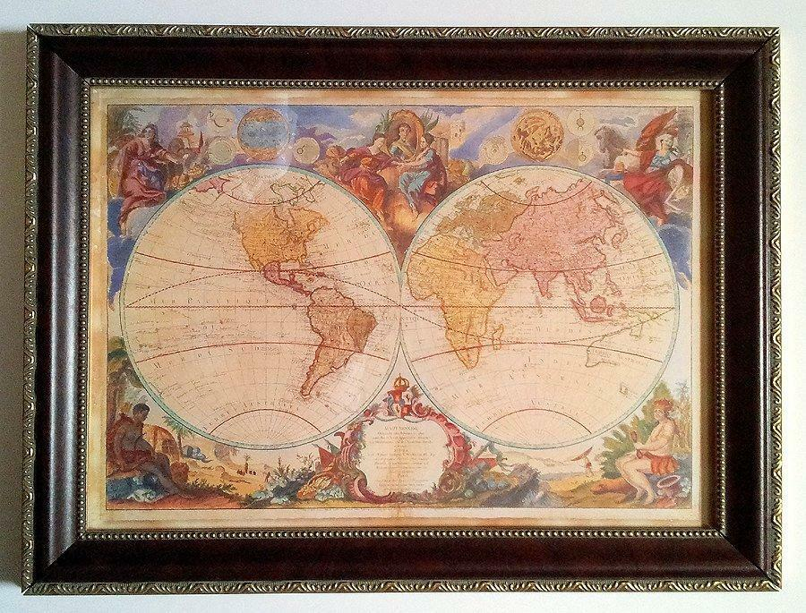 Farbeful Old World Map Framed French Royal Academy